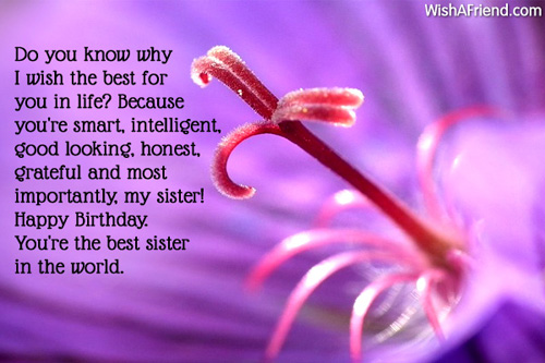 Sister Birthday Messages – Birthday Greetings for Sister Message