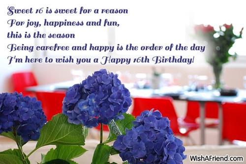 Sweet 16 is sweet for a 16th Birthday Wish – Sweet Sixteen Birthday Greetings