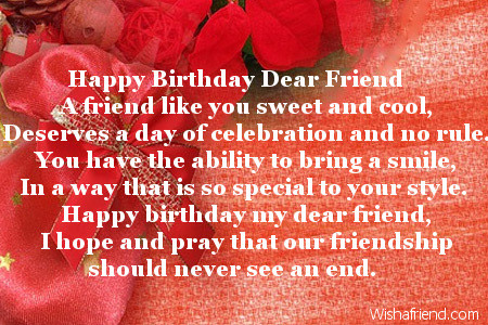 Happy birthday my sweet friend poem