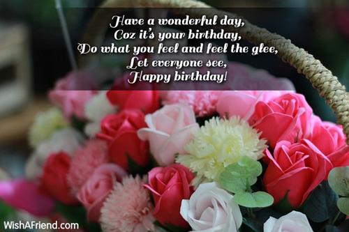 Have a wonderful day coz happy birthday message
