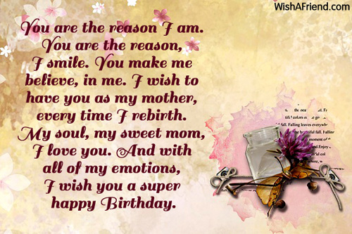 Mother Birthday Card Messages gangcraftnet – Birthday Greetings for Mother