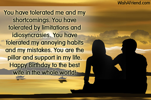 Friendship Day Quote For Wife : You have tolerated me and my birthday wish for wife