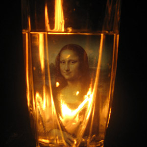 Candle Behind Glass
